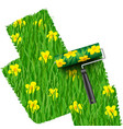 grass with flowers background painted by the vector image
