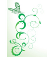 green butterfly and flourishes abstract vector vector image vector image
