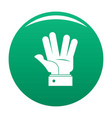 hand hello icon green vector image vector image