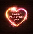 happy valentines day neon card hearts background vector image