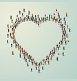 large group of people in heart vector image vector image