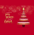 merry christmas gold hand drawn pine tree card vector image
