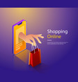 mobile shopping flat concept hand of vector image vector image