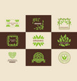 organic product logo template set natural vegan vector image vector image