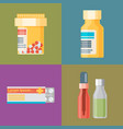 pharmacy icons set pills and capsules healthcare vector image vector image