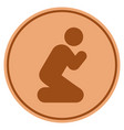pray pose bronze coin vector image vector image