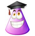 Purple cone with graduation cap vector image vector image