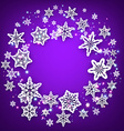Purple round background with snowflakes vector image