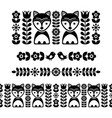 scandinavian folk art pattern - black long stripe vector image vector image