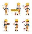 set construction worker characters vector image vector image