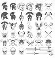 Set of ancient weapon helmets swords and design vector image