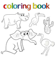 Set of animals and cactus for coloring book vector image