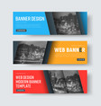 set of colored banners with diagonal place for vector image vector image