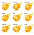 set of flaming cryptocurrency coin symbols icons vector image