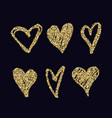 set with abstract hand drawn golden hearts vector image