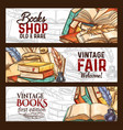 sketch banners vintage books shop fair vector image vector image