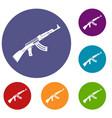 submachine gun icons set vector image vector image