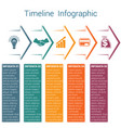timeline infographic 5 color arrows vector image vector image