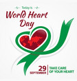 today is world heart day 29 september vector image vector image