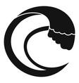 wave aqua icon simple black style vector image vector image
