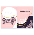 wedding invitation card with pink dog rose vector image