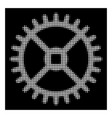 white halftone clock gear icon vector image