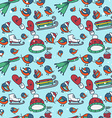 Winter seamless texture with bullfinches and sleds vector image
