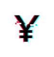 yen sign in glitch style vector image vector image