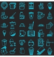 36 line icons collection for food vector image