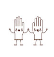 kawaii cartoon pair gloves holding hands in brown vector image