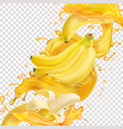 banana fresh juice splash realistic icon vector image