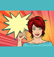 beautiful woman points vector image vector image