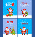 christmas 2019 posters set new year tree and santa vector image vector image