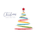 christmas and new year color hand drawn tree card vector image
