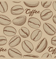 coffee seamless pattern coffee beans hand-drawn vector image vector image