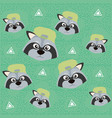 cute raccoon pattern background vector image