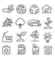 ecology line icons set on white background vector image vector image