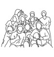 eight people playing bowling together vector image vector image