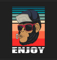 enjoy monkey retro vector image vector image
