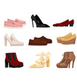 flat set of different female shoes side vector image