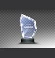 glass trophy or acrylic winner award realistic