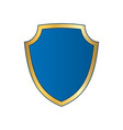 gold-blue shield shape icon bright logo emblem vector image vector image