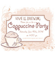 hand drawn cappuccino party invitation card vector image