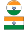 Indian round and square icon flag vector image
