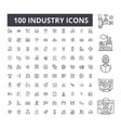 industry editable line icons 100 set vector image vector image