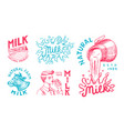 milk set cow and woman farmer milkmaid and jug vector image vector image