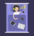new technologies addiction young girl sleeping vector image vector image