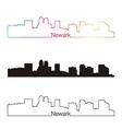 Newark skyline linear style with rainbow vector image vector image
