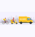 online delivery service concept order goods and vector image