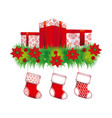 Ornament christmas flowers with box gifts and vector image